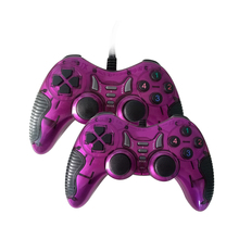 Cheap Rubber Hand Grip and Ergonomic Design Double Shock Twin USB Gamepad for PC PS2