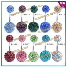 Shamballa Solid Color AB Clay Cz Crystal Bead Body Jewelry Piercing Surgical Stainless Steel Belly Bar -BJLmix2