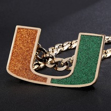 Miami Hurricanes Turnover Chain Replica 18K Gold Plated Necklace
