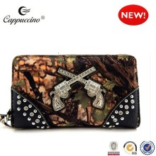 2017 high quality ladies rhinestone gun camouflage ladies purse wholesale