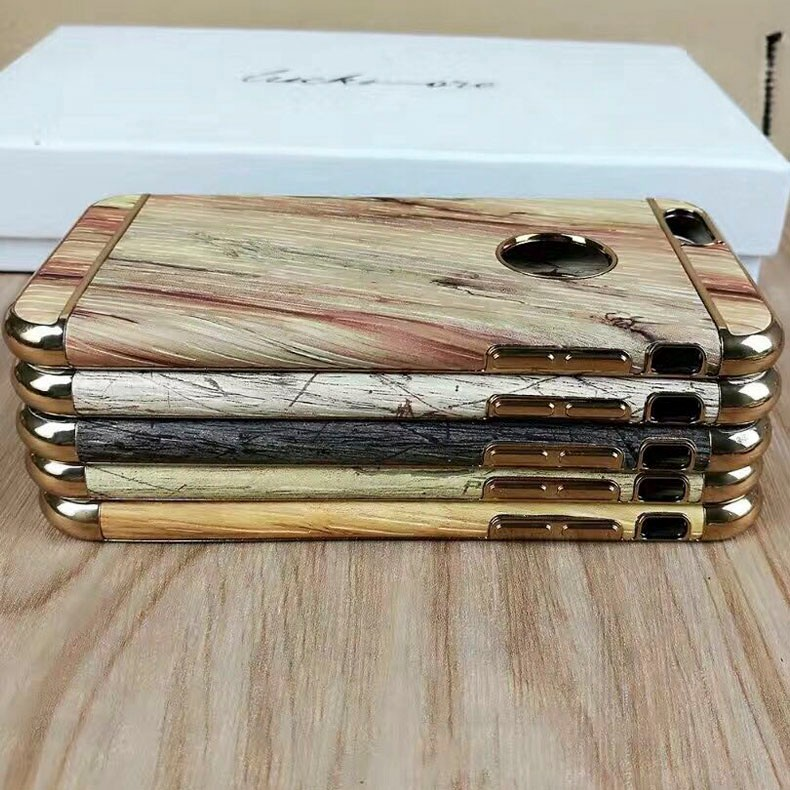 2017 Wholesale price electroplate TPU Wood pattern full mobile case for iphone7 TPU&PC