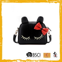 Cheap lovely cartoon black leather women shoulder bag