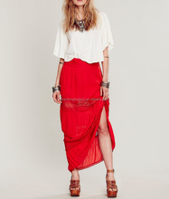 Crinkly crepe cheap long skirts 2014 fashion long skirts for women