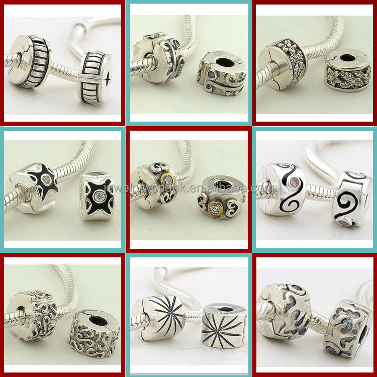 clip lock stopper beads, Handmade Authentic 925 Sterling Silver charms clip lock stopper beads