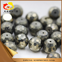 Professional cutting facets cut Natural iron pyrite stone ball beads made of China