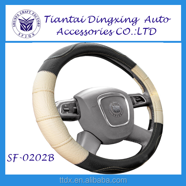 Best price for the leather material with silver of car steering wheel cover car accessories
