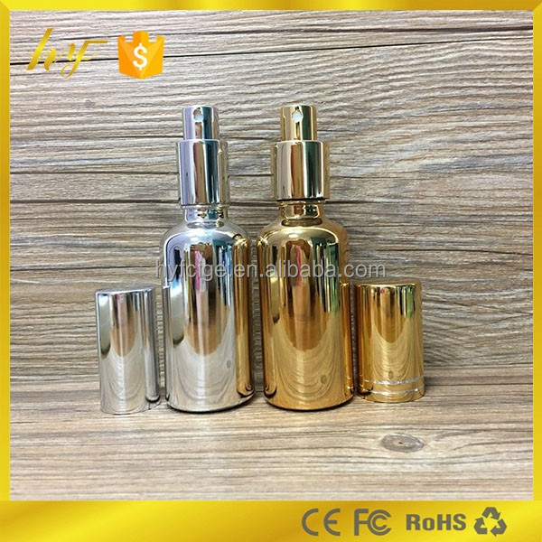 50ml gold and silver electroplate perfume glass bottle with pump