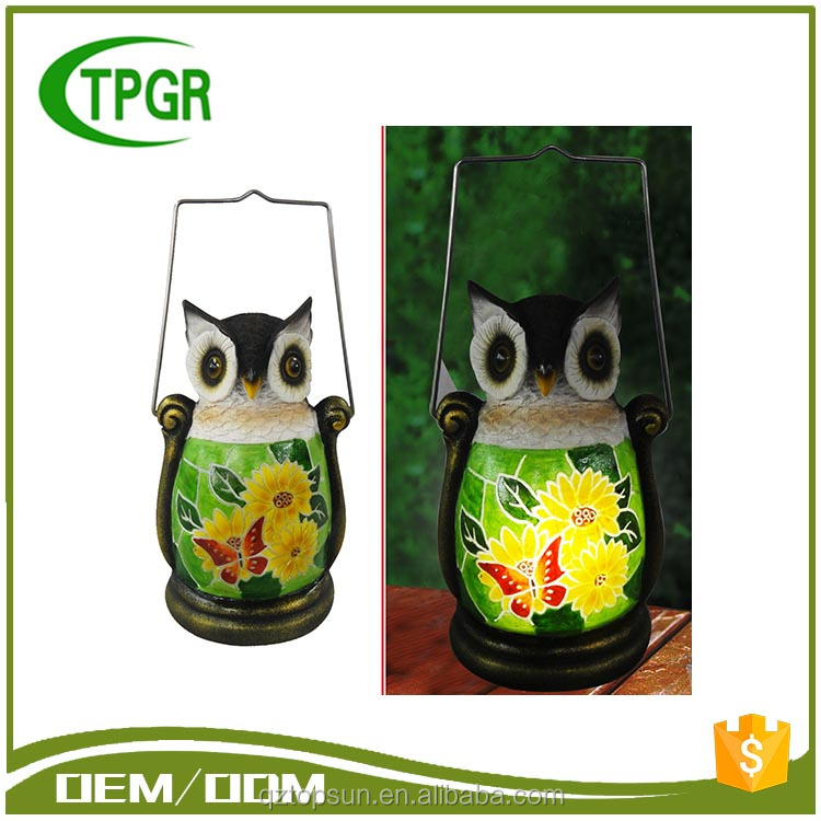 Cheap Bulk Polyresin Owl Led Solar Garden Light Lantern