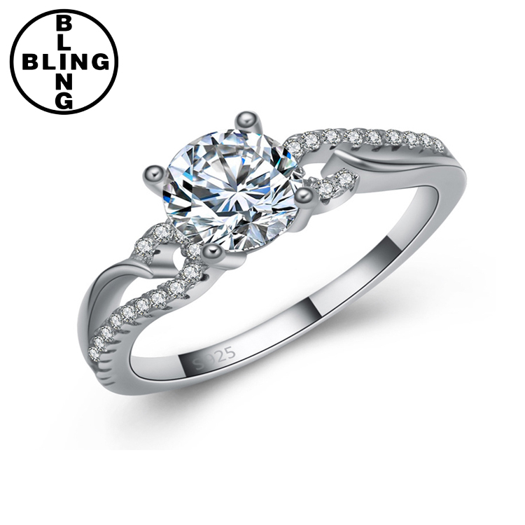 >>>Fashion Jewelry AAA Cubic Zircon Wedding Bands S925 Ring Real Pure 925 Sterling Silver Ring