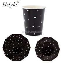 Party Disposable Tableware Sets Black White Little Star Moon Dinner Paper Tableware Plates Cups Foil Party Supplies PP260