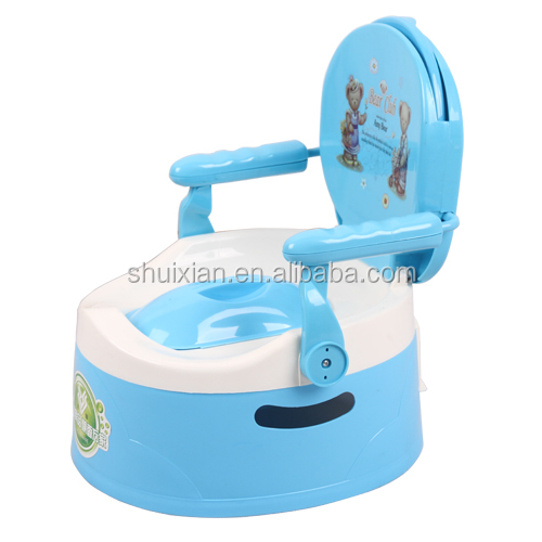 2015 best selling colorful cheap cartoon backrest plastic baby potty kids stool