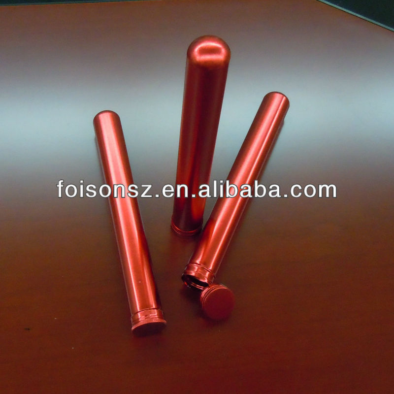 popular customized aluminum cigar tube with screw cap