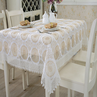 Hot sale high quality fancy design of embroidered white tablecloth