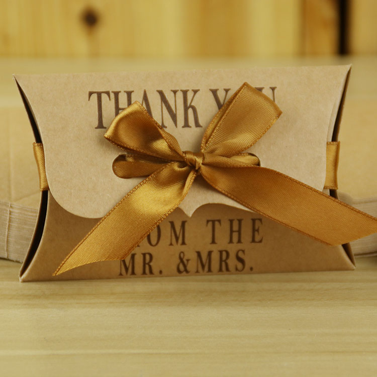 Kraft Paper Pillow Candy Box Wedding Favors wedding party suppliers