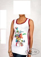 Latest fashion ladies t shirt summer collection with digital print t shirt