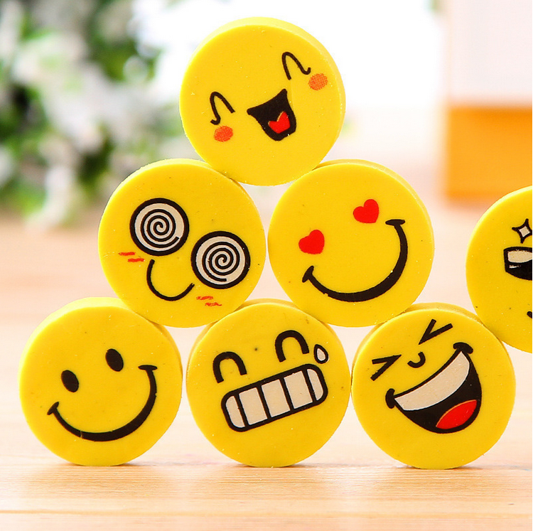 Hot Emoji Emotion Kawaii Eraser Pencil Novelty Stationery School Supplies Kawaii Material Cute Erasers