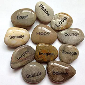 Fashion Mixed Color River Stones Engraved Inspirational Stones Memory Stones