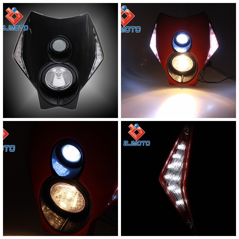 LED Motorcycle Headlight H3 12V LED Headlight Bulb Vision LED Head Lamp with Turn Signal Blinker for Street Fighter Dirt Bike