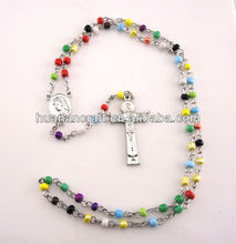 New design religious christian 59 beads cheap mini multicolor saint glass necklace rosary cross