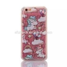 Low price plastic glitter unicorn liquid sand mobile phone cover for iphone 7 7 plus shell