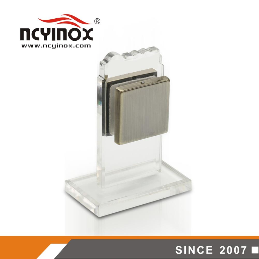 glass to wall door top  small square clamp patch fitting