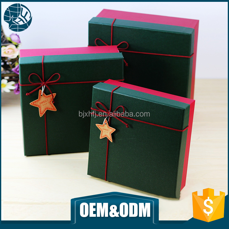 Eco friendly custom cardboard boxes flap beautiful decorated recycled christmas paper gift box