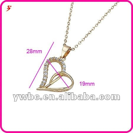 korean 18k gold plated heart cz necklace jewelry(A119240)