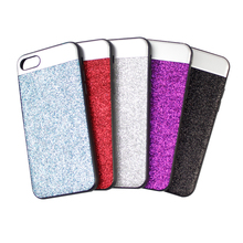 Silver Color Bling Glitter Aluminum Sheet Leather Back Cover Lagging Design Mobile Phone Case for Iphone 7 plus