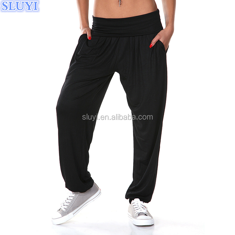 factory custom made india wholesale harem pants boho cotton long casual jogger yoga pants black simple harem pants for women