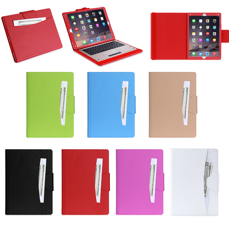 Super Luxury Business Style Leather Case with Keyboard & Card Slots for iPad Pro with Stand Function