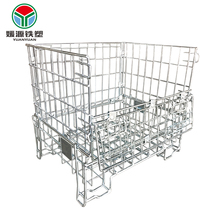 Heavy duty stacking collapsible wire mesh warehouse metal trolley storage folding push cart cage