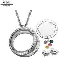 wholesale floating crystal stainless steel 30mm glass locket