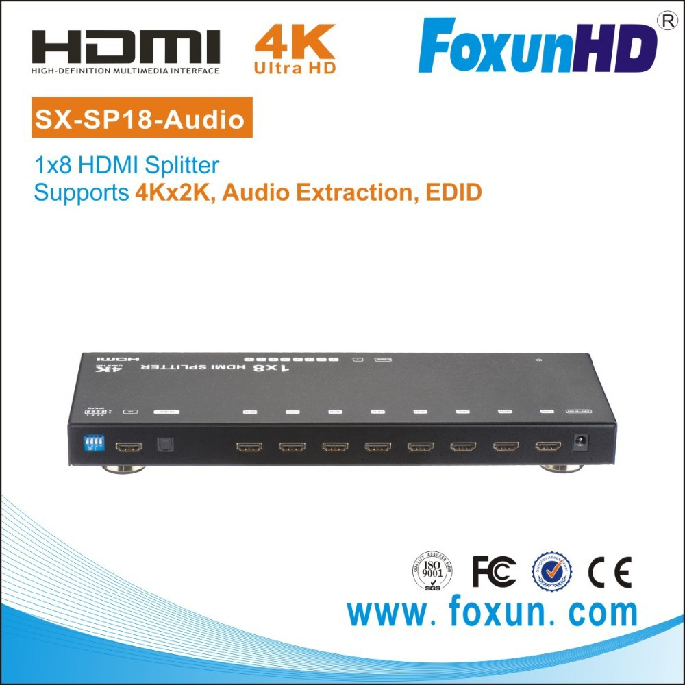 SHUNXUN 2015 SX-SP18-audio with EDID Ultra HD 4K2K 3D TV Video HDMI Spliter 1x8 with Audio