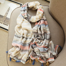 Cotton linen colorful fringe fashion scarf with tassel