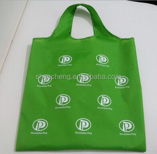 custom recycled waterproof recycled polyester folding tote bag