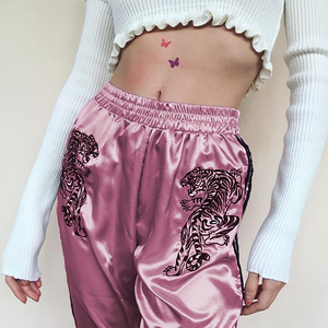 ZH3330G Pink Gray Embroidery Loose Women Pants Ankle Length Long Sports Trousers For Girls