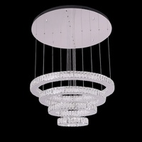 Modern crystal led pendant lighting chandelier with 4 rings