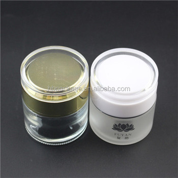20g, 30g, 50g Glass Cosmetic Jar with white golden lid for Face Cream