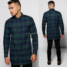 Wholesale Plaid Flannel Shirt Longline Back Zip Check Blouse Design Shirt For Men
