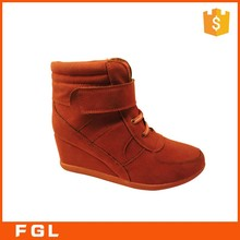 Factory Supplied Hot Sale Fancy Wedge PU Leather Sexy Ladies Ankle Boot