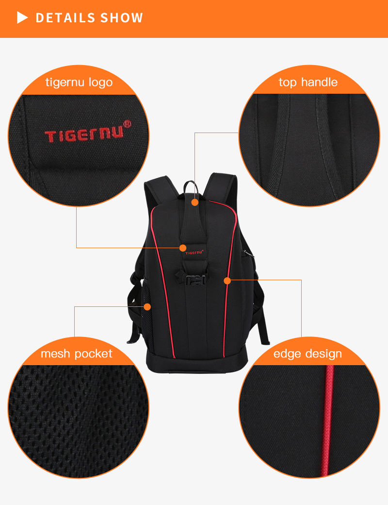 "2019 New Arrival Tigernu outdoor Photography bag camera bag 15"" laptop camera bags with tripod"