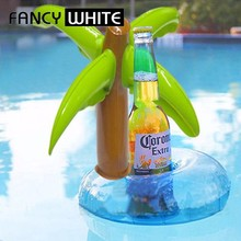 Pool pvc inflatable palm tree custom cool drink floating cup holder