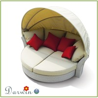 outdoor furniture rattan day bed round chaise lounge chair with canopy