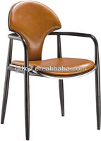 modern leather and metal dining chair with armrest