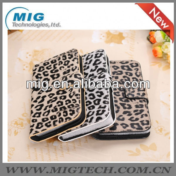 leopard print wallet leather case for samsung galaxy S4, for Samsung cell phone case