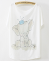 Wholesale woman t shirts batwing sleeve elephant design summer ladies fashion fancy t-shirt