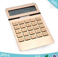 Wholesale Cheap Dual Power Gold Coating Desktop Calculator