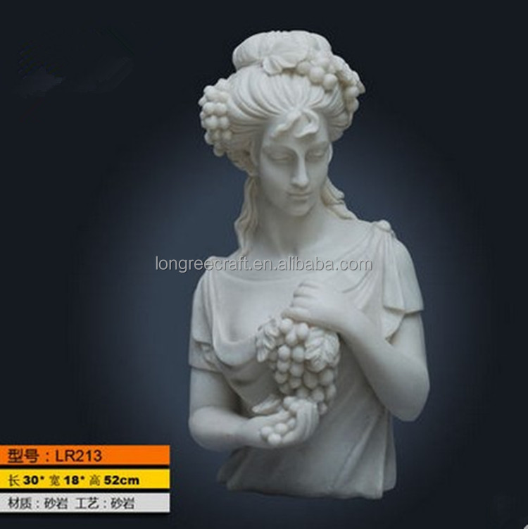 beauty girl bust hold grapes carved statue stone sculpture