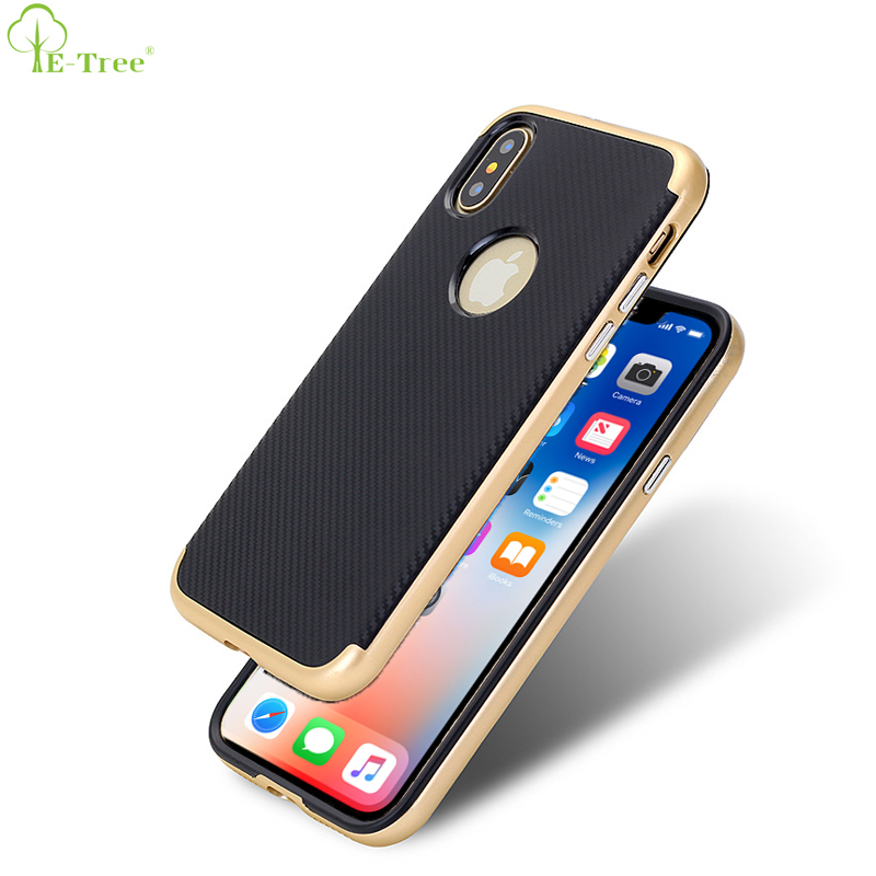 2 IN 1 Matte Frame Carbon Fiber Pattern TPU Back Cover Case For iPhone X Smartphone