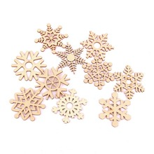 Wooden Snowflake Gift Tag Craft Wedding Christmas Tree Hanging Decoration
